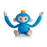 Интерактивная мягкая детская игрушка Обезьянка-обнимашка WowWee Fingerlings Hugs Boris Оригинал Blue (ИН17)