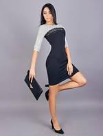 Комбинированное женское платье с кружевом
