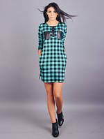 Молодёжное женское платье в клетку с вставками экокожи