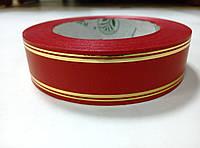 Лента красная атласная с люрексом 3 см * 50 м