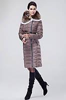 Женский зимний пуховик c натуральным мехом. Модель 0325, фото 4