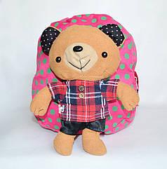 Детский рюкзак для дошкольников с мягкой игрушкой мишка розовый