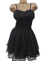Стильное молодежное платье из фатина и гипюра (42-44)