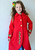 Яркое пальто красного цвета с вышивкой на девочку на рост 140 см