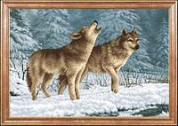 Схема на ткани для вышивания бисером Волки на снегу МК КС-039