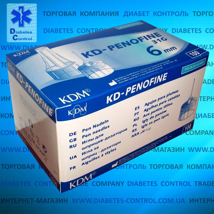 Иглы 6 мм для шприц-ручек KD-Penofine / КД-Пенофайн 100 шт. в упаковке (Германия)