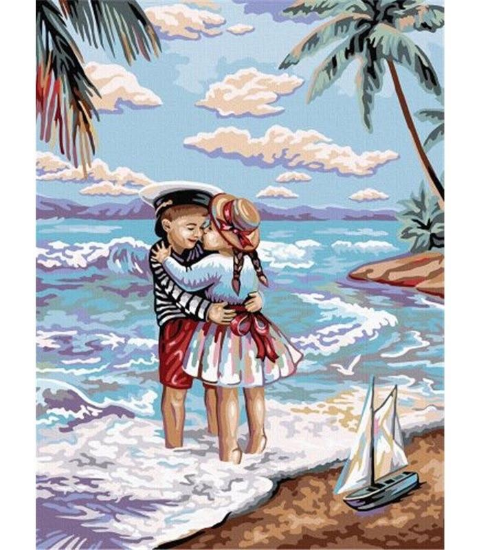 """KMKpNe-03-01 Креативна творчість """"PAINTING BY NUMBERS"""" 30см*40см економ №1 """"Морський пляж"""""""