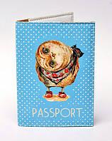 """Обложка на паспорт """"Сова"""" голубом фоне"""
