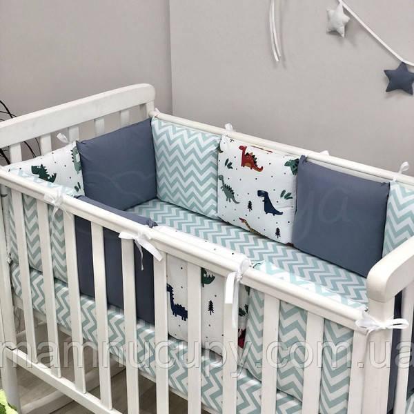 Бортики в детскую кроватку Baby Design Дино синий ТМ «Маленькая Соня»