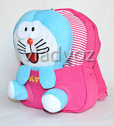 Детский рюкзак для дошкольников с мягкой игрушкой зайка заяц розовый