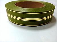 Лента зеленая атласная с люрексом 3 см * 50 м
