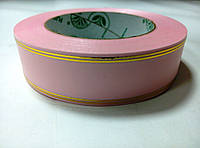 Лента розовая атласная с люрексом 3 см * 50 м