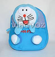 Рюкзак для дошкольников с мягкой игрушкой зайка голубой