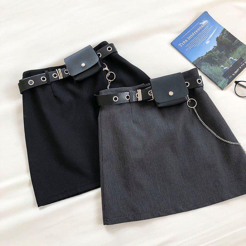 Спідниці з ремінцем і знімним гаманець з ланцюжком. Чорні і темно-сірі. (306)