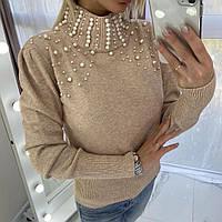 Красивый женский свитер с жемчугом, фото 1
