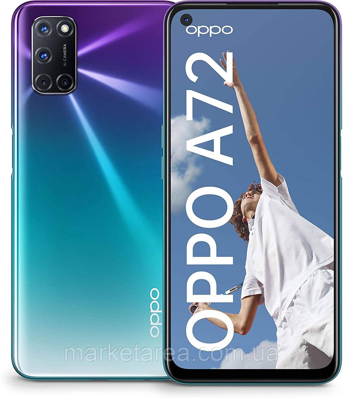 Смартфон с хорошим аккумулятором большой емкости и нфс функцией на 2 sim OPPO A72  Aurora Purple 4/128Gb
