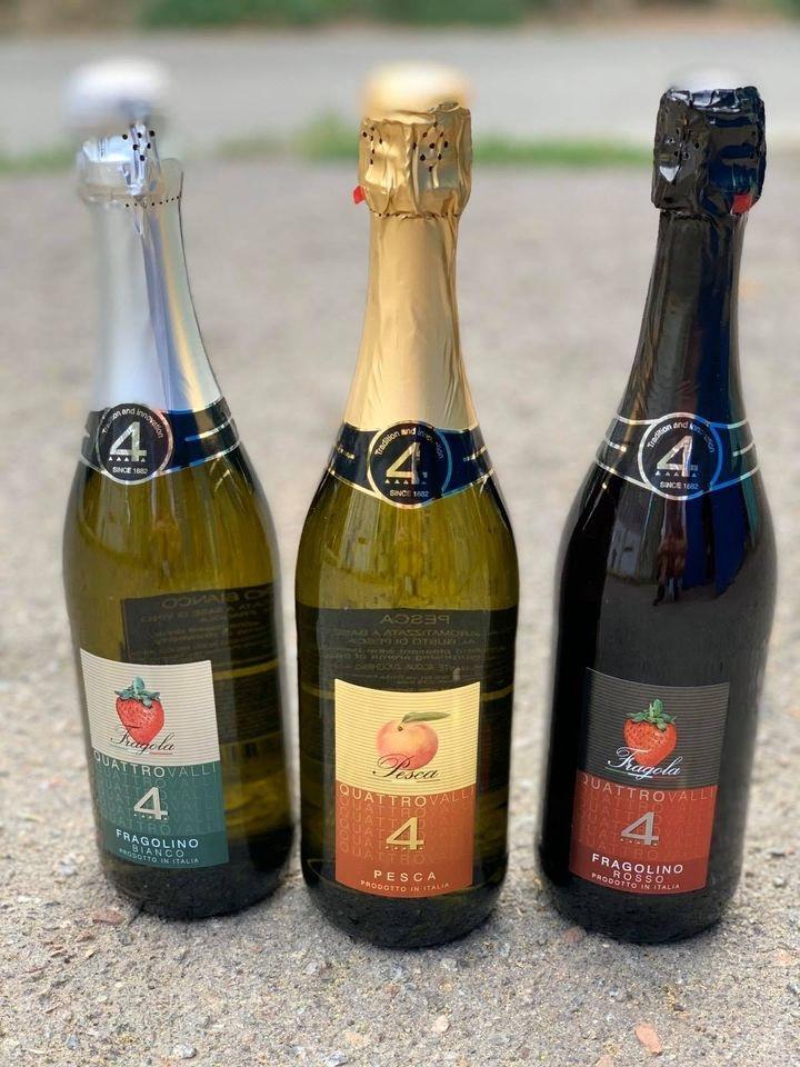 Шампанское (вино) белое персиковое полусладкое Fragolino Quattro Valli Pesca 0,75 л Италия