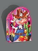 Картонная новогодняя упаковка Бычок-Ковбой на вес до 600г, от 1 ящика