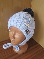 """Зимняя шерстяная детская шапка на флисовой  подкладке """"Stop"""". Утеплитель: холлофайбер"""