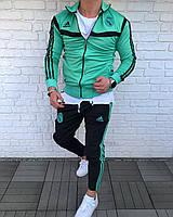 Мужской спортивный костюм ADIDAS REAL MADRID черно-зеленый (реплика)