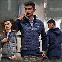 Мужская стильная куртка демисезонная с капюшоном (синий, р.S,М,L)