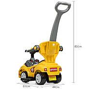 Каталка-толокар M 4205-6 желтый с родительской ручкой Гарантия качества Быстрая доставка, фото 4