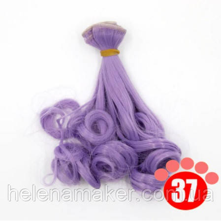 Кучеряве волосся тресс для ляльок 15 см * 100 див. Бузковий колір