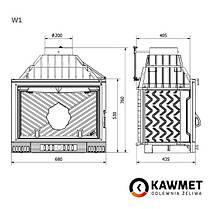 Каминная топка KawMet W1 FENIKS 18 кВт воздушные каминные топки, фото 2