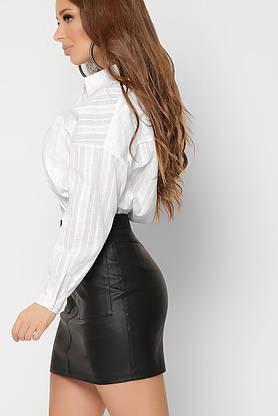 Модная белая рубашка оверсайз в офисном стиле хлопковая, фото 3