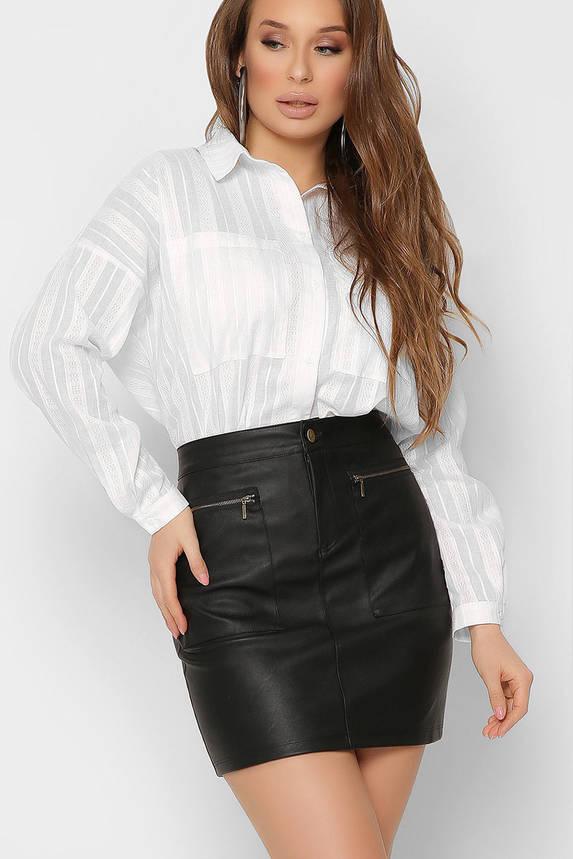 Модная белая рубашка оверсайз в офисном стиле хлопковая, фото 2