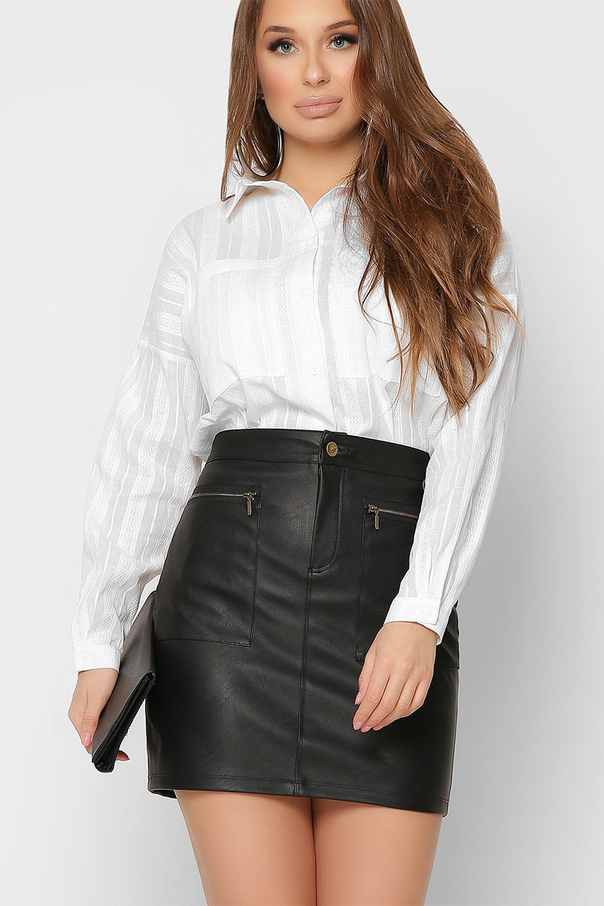 Модная белая рубашка оверсайз в офисном стиле хлопковая