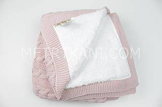 Плед вязанный с овчиной грязно-розового цвета косичка 100% хлопок 75/90 см №56-61