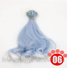 Кудрявые волосы трессы для кукол 15 см * 100 см. Голубого цвета с белыми концами.