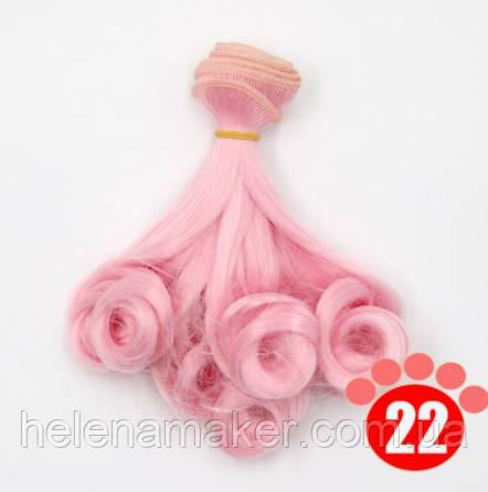 Розовые кудрявые волосы трессы для кукол 15 см * 100 см.