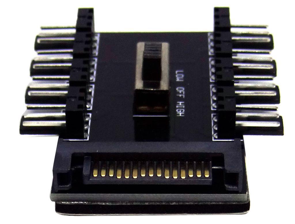 Перехідник sata to 8 x 3pin - розгалужувач харчування для кулерів