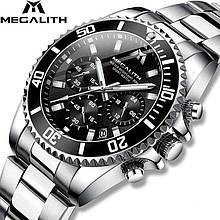Годинники чоловічі наручні MegaLith 8046M, колір срібло з чорним циферблатом ( код: IBW358SB )