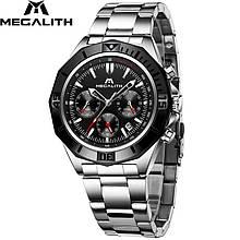 Годинники чоловічі наручні MegaLith 8206, колір срібло з чорним ( код: IBW359SB )