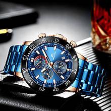 Годинники чоловічі наручні MegaLith 8087, колір синій з чорним ( код: IBW360ZB )
