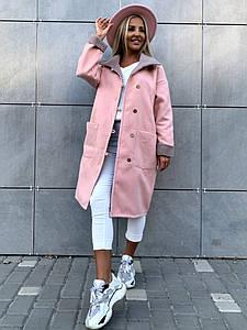 """Женское кашемировое пальто на пуговицах """"Дези"""" с накладными карманами"""