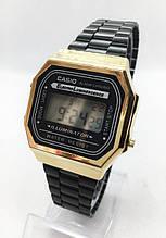 Часы мужские наручные электронные CASIO (Касио), черные с золотом ( код: IBW413BY )
