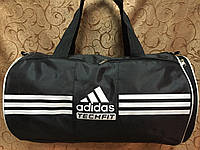 Спортивная сумка-цилиндр ADIDAS, Адидас черная с белым ( код: IBS039B )