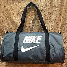 Спортивная сумка-цилиндр Nike, Найк серая с белым ( код: IBS041S )