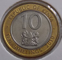 Монета Кении 10 шиллингов 2010 г., фото 1