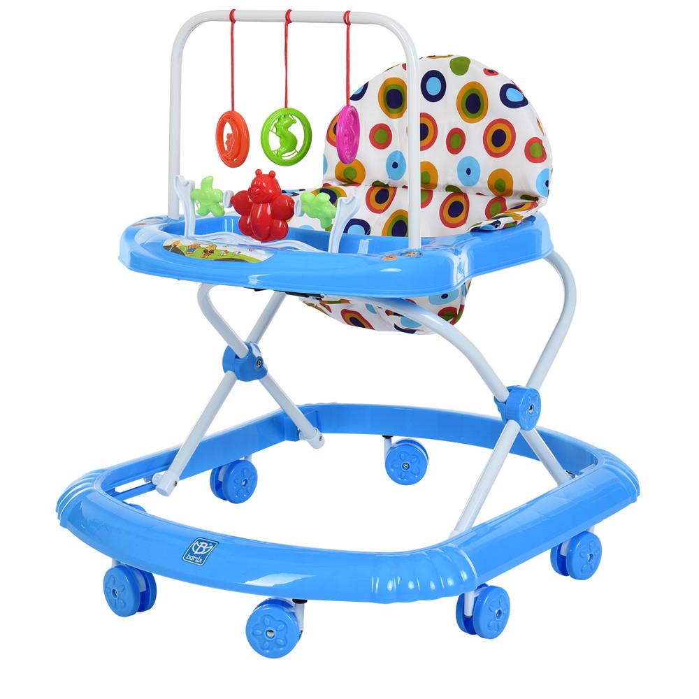 Детские музыкальные ходунки Bambi М 0591A синий с подвесными игрушками