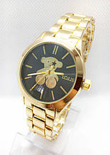 Часы женские наручные в стиле TOUS (Тоус), золото с черным циферблатом ( код: IBW415YB )