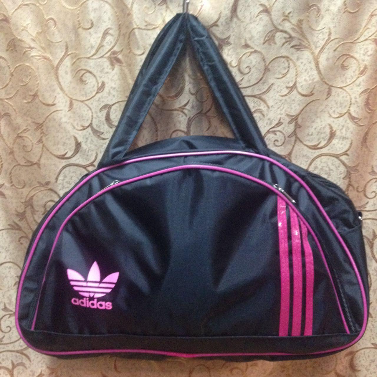Спортивная сумка для фитнеса Adidas, Адидас черная с розовым ( код: IBS025BP )