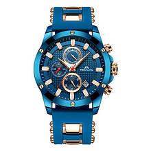 Годинники чоловічі наручні MegaLith 0140M, колір синій з золотом ( код: IBW352ZY )