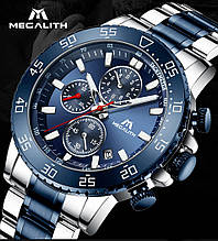 Годинники чоловічі наручні MegaLith 8087, колір синій з сріблом ( код: IBW360ZS )