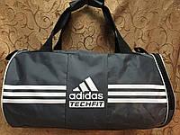 Спортивная сумка-цилиндр ADIDAS, Адидас серая с белым ( код: IBS039S )
