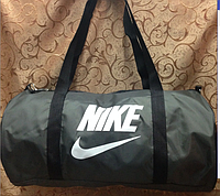 Спортивная сумка-цилиндр Nike, Найк серая с белым ( код: IBS041H )